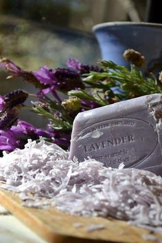 Shaved lavender soap, blue pottery, lavender bundles and natural wood.  Lovely.