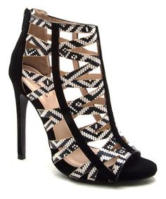 "Qupid ""Glee"" geometric-patterned black-and-white-synthetic open-toe criss-cross straps very-high-heeled caged ankle bootie"