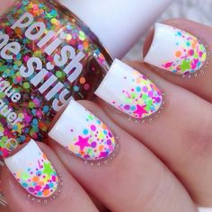 Neon Multicolor Dot Nails With Stars. This is all sorts of perfect! I love it, so clever! :) www.ozspecials.com