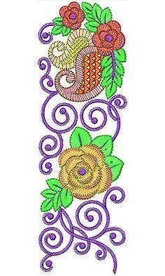 Copper Fabric Lace Border Brocade Embroidery Design