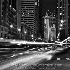 """Select from over 139 different Night-Time Black & White Pictures of the Chicago Skyline, popular Chicago Landmarks, or Cityscape Scenes around downtown Chicago. All images from the Metroscap Chicago Photography collection are available in a variety of sizes starting as small as simple 5-inch x 7-inch print only, traditionally framed & ready-to-hang pieces up to 62.5"""" x 47.5"""" and up to (as large as) a ready-to-hang 4-foot x 8-foot aluminum print. White Canvas Art, Black And White Canvas, White Art, Black Wood, Black White, Black And White Picture Wall, Black And White Pictures, Cityscape Photography, Chicago Photography"""