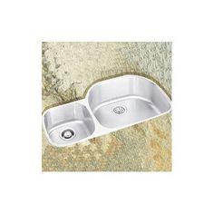 "Elkay Lusterone 36.31"" x 21.13"" Harmony Undermount Double Bowl Kitchen Sink Bowl Configuration: Left"