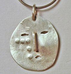 Silver Face Eskimo Mask Pendant by jordanfineartjewelry on Etsy, $40.00