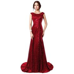 Belle House Sequined Mermaid Sheer Neck Evening Dress Prom Gown HSD197 ($70) ❤ liked on Polyvore featuring dresses, gowns, red dress, red gown, red sequin dress, sheer prom dresses and homecoming dresses