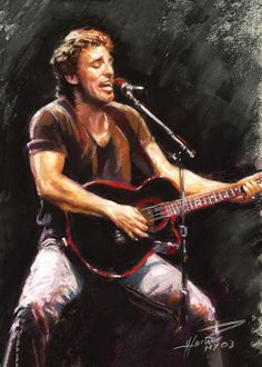 Bruce Springsteen by Ylli Haruni ~ pastels on Canson paper