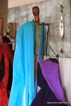 Repurposed Junk Coat Hook http://bec4-beyondthepicketfence.blogspot.com/2014/01/repurposed-junk-coat-hook.html