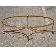 Vtg Labarge Brass Hoof Foot Hollywood Regency Neoclassic Oval Coffee Table Base