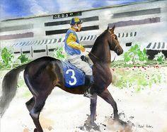 Horse Art PRINT Watercolor Painting Racehorse  by rachelsstudio, $25.00
