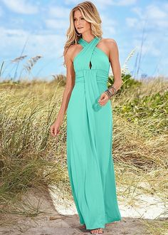 Pure Color Backless Sleeveless Long Prom Dress