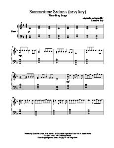 Summertime Sadness - Lana Del Rey (easy key). Download free sheet music for over 200 hit songs at www.PianoBragSongs.com.