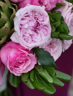 #DavidAustinRoses has a variety of #pinkroses with subtle differences for weddings and events. Here, we see bold, mid pink Carey and softer, rose pink Miranda in a pink & green #bridalbouquet.