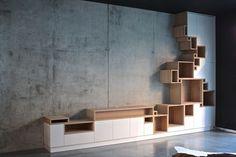 Mueble de salón a base de cubos