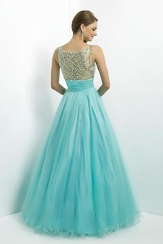 2014 Prom Dress Scoop Neckline Mesh Illusion Beaded Bodice Tulle