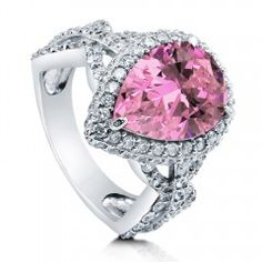 Pear Pink CZ 925 Silver Halo Cocktail Ring 5.41 Ct