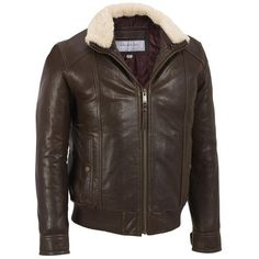 Marc New York Rugged Leather Bomber w/ Sherpa Lined Collar (34.590 RUB) ❤ liked on Polyvore featuring men's fashion, men's clothing, men's outerwear, men's jackets, mens slim fit leather jacket, mens slim leather jacket, mens slim fit bomber jacket, mens leather jackets and mens bomber jacket