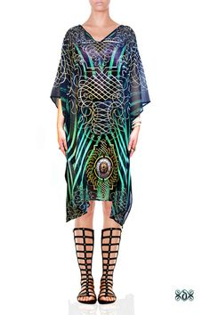 Animal Print Embellished Ladies Kaftan Tunic Tops Dress Beachwear Poncho