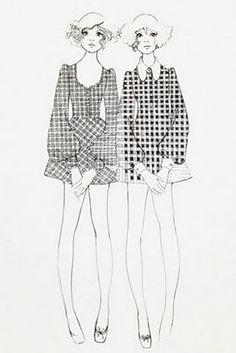 Biba and Beyond Exhibition Biba Fashion, Seventies Fashion, Pop Fashion, Vintage Fashion, Fashion Design, Patron Vintage, Black And White Design, Illustration Sketches, Fashion Sketches