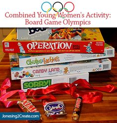 Great idea for an easy and cheap young women's activity. Board Game Olympics