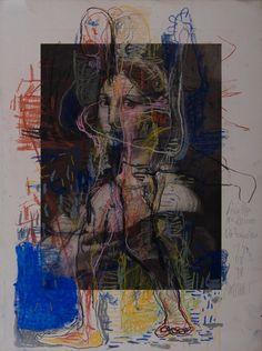 Thomas Gatzemeier Die Foruarina von Pippi gemalt 1998 Kohle, Pastell auf Heliogravüre 50,7 x 37,8 cm // at Michaela Helfrich Galerie