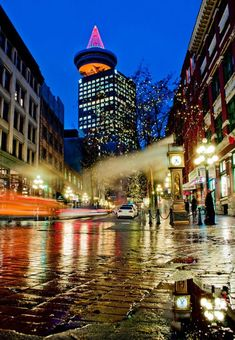 Awww, love Gastown...specially the steam clock!!!  Rainy Gastown street, in Vancouver BC