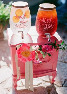 10 Refreshing Ideas For Summer Weddings: Fill a beverage server to the brim with sweet tea, lemonade, or infused water to keep your guests hydrated all day long.