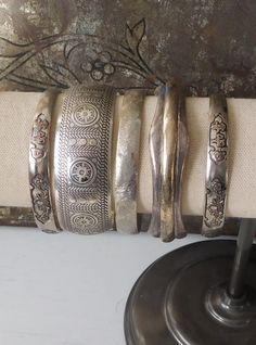 925 Sterling Silver Bangle Panel Bracelet Bohemian Cuff Hippie Boho Style Southwest Jewelry Stackable Bracelets Indie Folk Festival Sundance by LandofBridget on Etsy