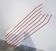 "skt4ng:  Ian Cochran ""Cube Transposed""2' x 3' x 3'MDF, aluminum, steel2013"
