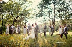 Anna Lee Media, Oklahoma Wedding Photographer, #country, #vintage, cute bridal party pose, mixed bridesmaids and groomsmen, backlighting, sunflower field, funny, silly