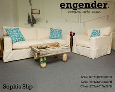 The Sophia Slip Sofa With Down Blend Seats! Crafted In NC. Limited Lifetime