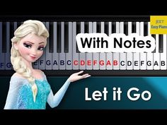Easy piano songs for beginners Let it Go Piano Music For Kids, Easy Piano Songs, Easy Piano Sheet Music, Piano Music With Letters, Piano Music Notes, Piano Noten, Piano Notes For Beginners, Music Chords, Let It Go Song