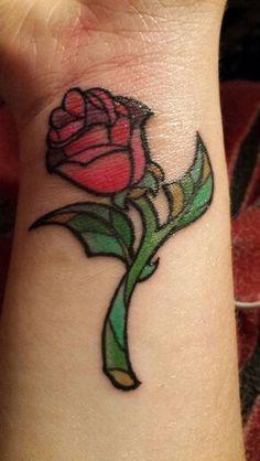 New Tattoo!! :D Beauty and the Beast Tattoo Beauty and the Beast Rose Tatoo Rose Tattoo
