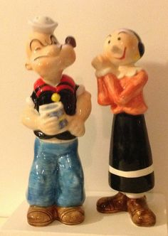 Popeye and Olive Oyl Salt and Pepper Shakers Vintage 1980s | eBay
