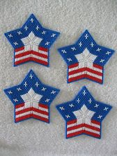 Red White & Blue Patriotic Star Coasters ~ Star Flag Plastic Canvas Coasters