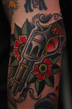 Pistol. American Traditional Tattoo