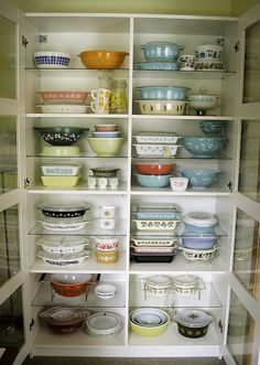 "Oh, Pyrex, I love you so. My grandmother's 4-qt aqua butterprint ""cinderella"" bowl is my favorite mixing bowl, hands down. I'd love to fill out the set with more."