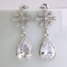 Snowflake Crystal Earrings spinach other cool things Pinterest