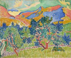 André Derain (artist)  French, 1880 - 1954  Mountains at Collioure, 1905  oil on canvas  overall: 81.3 x 100.3 cm (32 x 39 1/2 in.) framed: 108 x 127 x 8.6 cm (42 1/2 x 50 x 3 3/8 in.)  John Hay Whitney Collection  1982.76.4   On View