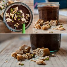 vegan chocolate ice cream with caramel chunks  ///  Veganes Schoko-Eis mit Karamellstückchen