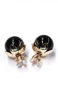 Zwarte parel met kristal steen