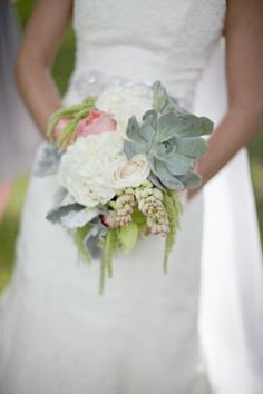 A succulent-filled bouquet. Perfect Wedding, Our Wedding, Dream Wedding, Bride Bouquets, Bridesmaid Bouquet, Succulent Bouquet, Lakeside Wedding, Bridal Flowers, Wedding Beauty