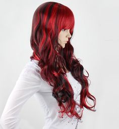 Long curly Wig  Red wig with Black hightlight synthetic highlighted wig -high quality wig- made to order by wigglywigs. Explore more products on http://wigglywigs.etsy.com