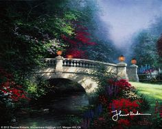 Thomas Kinkade was an American painter of popular realistic, bucolic, and idyllic subjects. He is notable for the mass marketing of his work as printed reproductions and other licensed products via The Thomas Kinkade Company. Pintura Colonial, Thomas Kinkade Art, Kinkade Paintings, Oil Paintings, Thomas Kincaid, Wallpaper Free, Art Thomas, Beautiful Paintings, Pretty Pictures