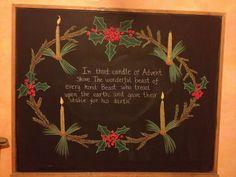 Advent Blackboard Drawing, Chalkboard Drawings, Chalkboard Art, Winter Holidays, Christmas Holidays, Xmas, Spiral Drawing, Blair Waldorf, Birth Giving