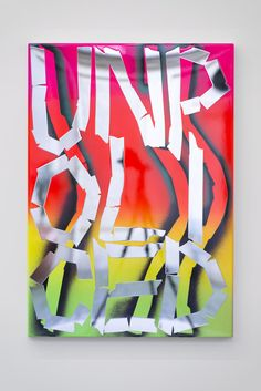 Eddie Peake Uoc Nle Pid, 2015  Lacquered spray paint on polished stainless steel 39 2/5 × 27 3/5 in 100 × 70 cm Galleria Lorcan O'Neill (Roma) Price?  Likely ~£30k. Ouch.
