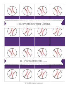 Free Royal Purple  Baseball Paper Chains