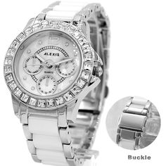 ALEXIS Brand FW830G Elegant Water Resistant Silver Crystal Watchcase White Dial Ladies Women Ceramic Bracelet Watch