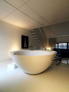 Renovated Industrial Factory Into Minimalist Home Design With Spa And Gym   Big Bathtub