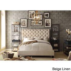 Moser Bay Furniture Calia Tufted Upholstered Platform Bed (Beige Linen), Size Queen