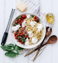 summer spaghetti with tomatoes, burrata and basil recipe