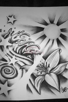sun and star tattoos | Sun Waves Ands Stars By Itchysack Tattoo Designs 11957, Tattoo-Designs ...